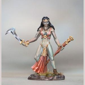 DSM7386 Female Half Orc Warlock with Staff